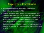 targetgroup practitioners