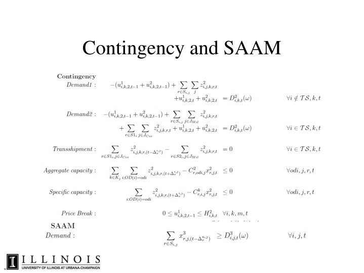 Contingency and SAAM