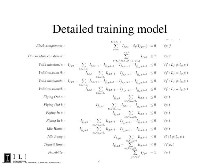 Detailed training model