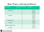 run times advanced basis