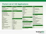 partial list of 140 applications