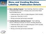 menu and vending machine labeling publication details