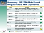 summary hp2020 nutrition weight status fda objectives contd