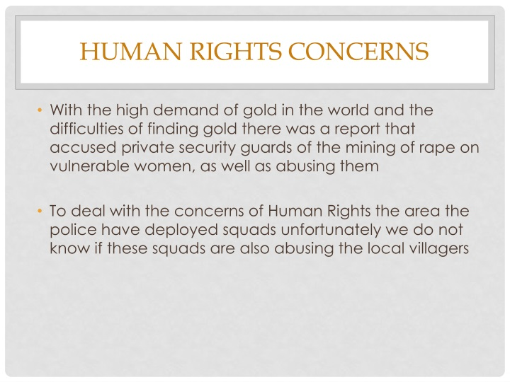 Human Rights Concerns