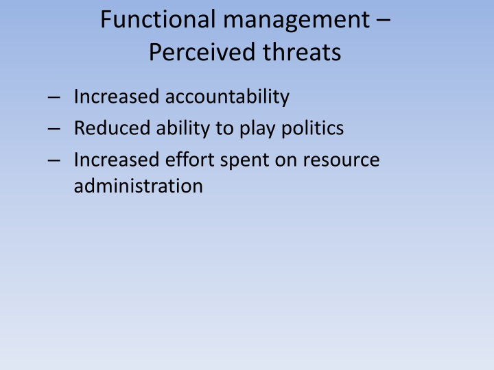 Functional management –