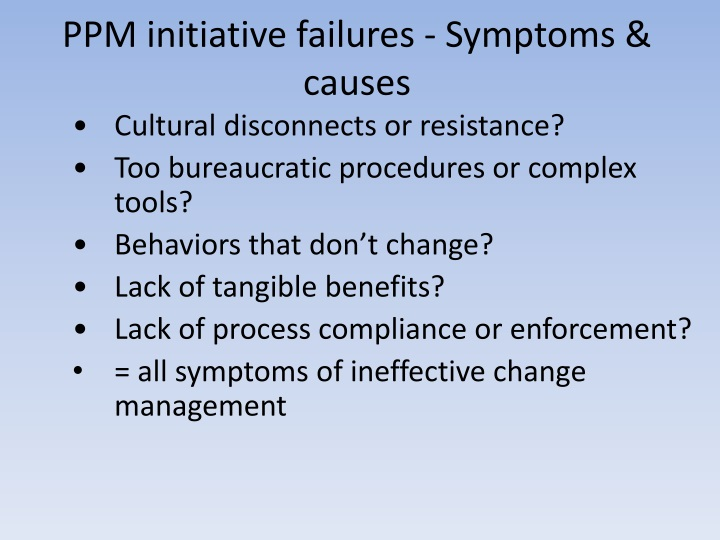 PPM initiative failures - Symptoms & causes