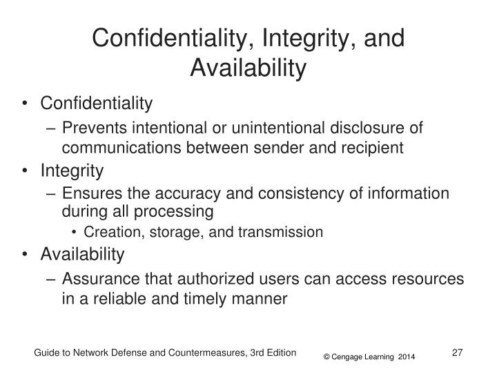 Confidentiality, Integrity, and