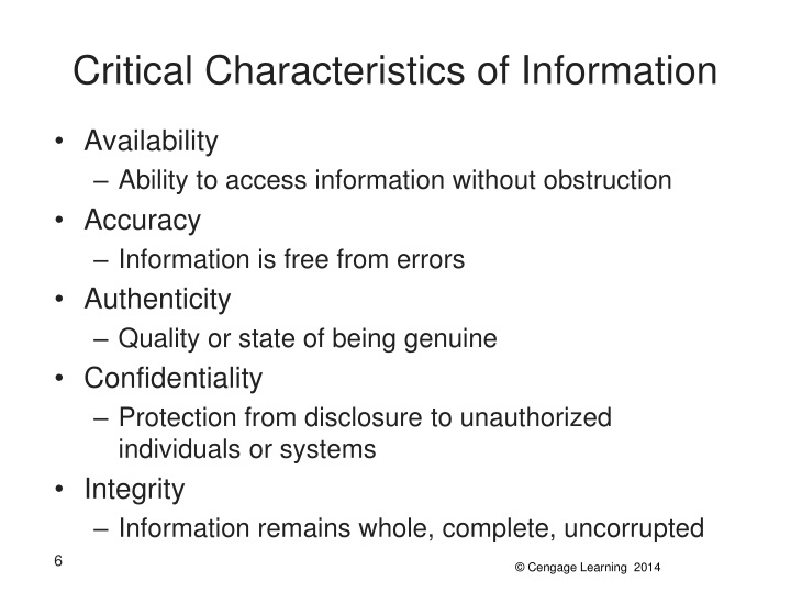 Critical Characteristics of Information