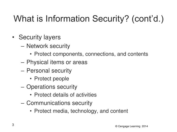 What is information security cont d