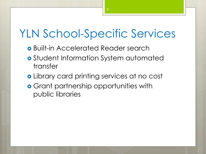 YLN School-Specific Services