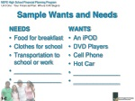 sample wants and needs