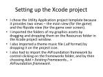 setting up the xcode project
