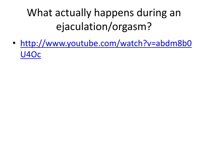 What actually happens during an ejaculation/orgasm?