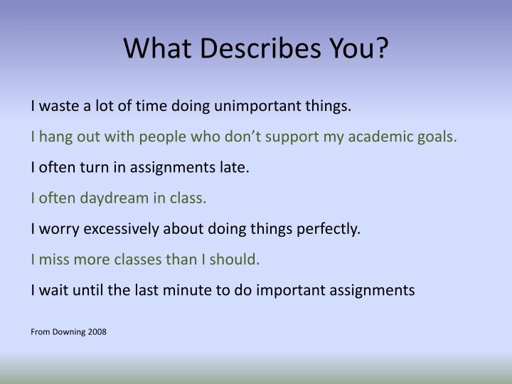 What Describes You?