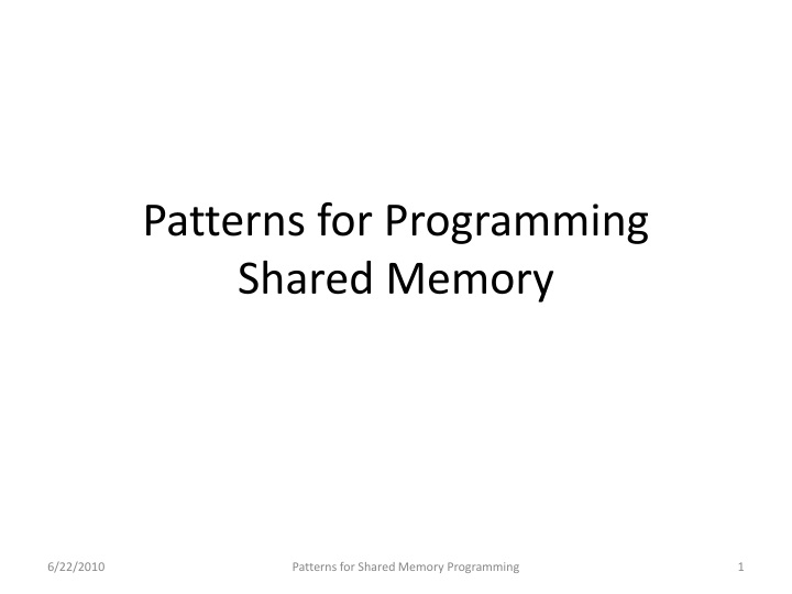 Patterns for Programming