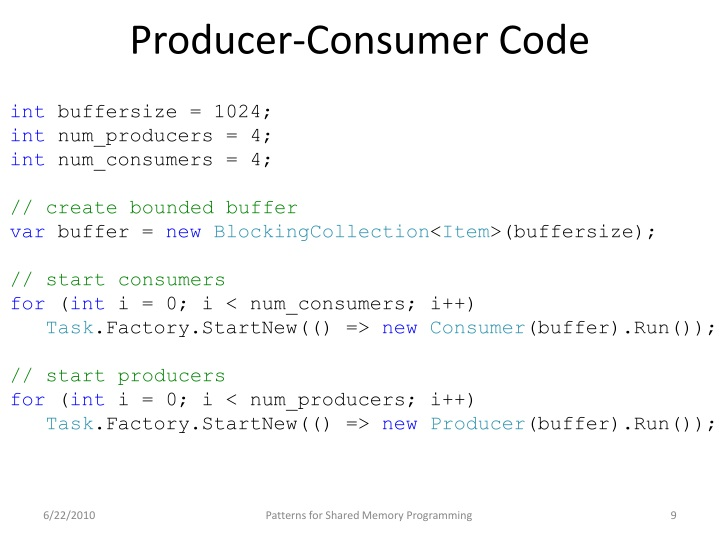 Producer-Consumer Code