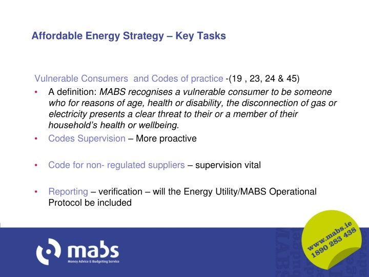Affordable Energy Strategy – Key Tasks