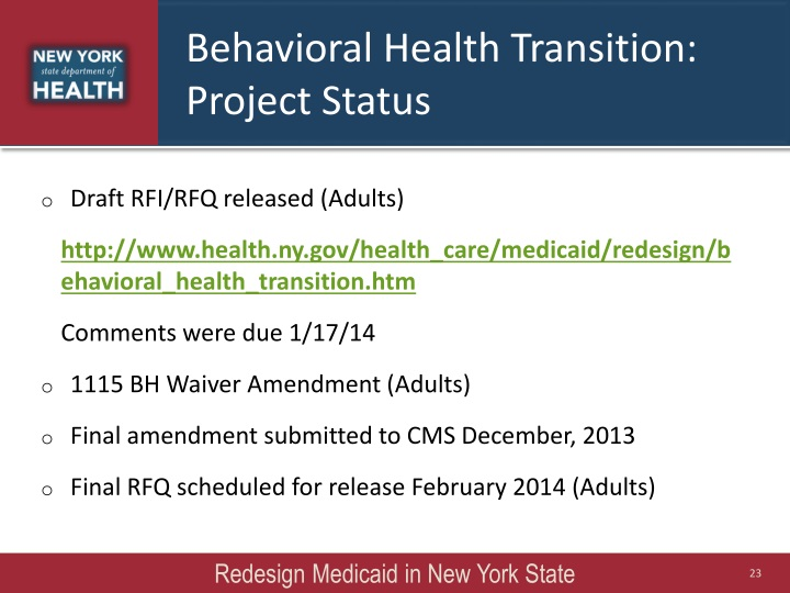 Behavioral Health Transition:
