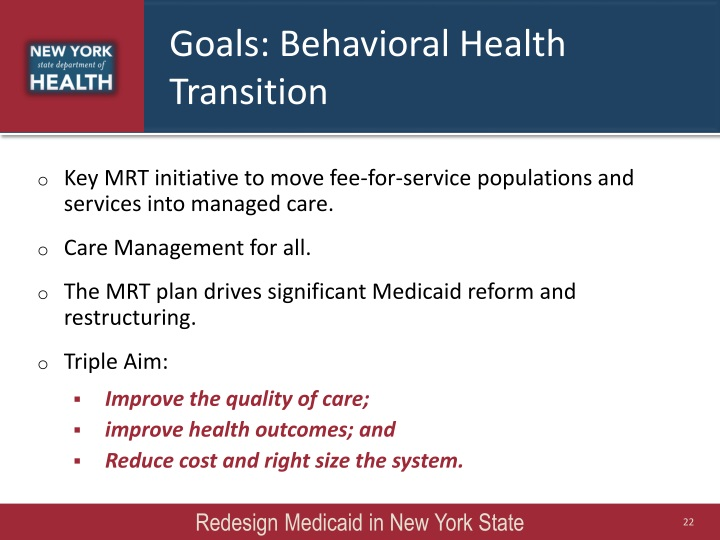 Goals: Behavioral Health Transition