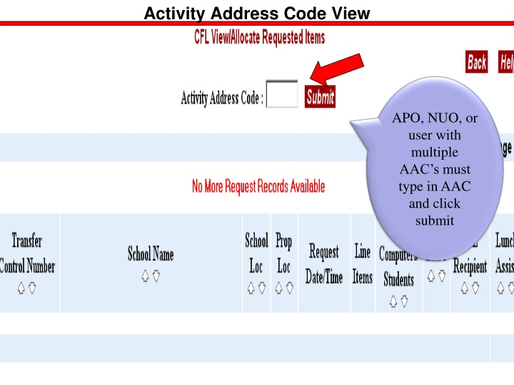 APO, NUO, User with Multiple AAC's: type in AAC