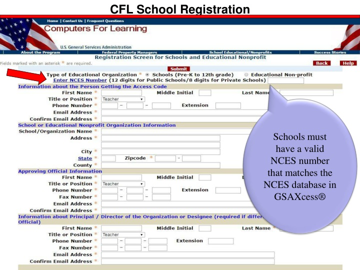 "Schools must have a ""Valid"" NCES number that matches the NEA database and"