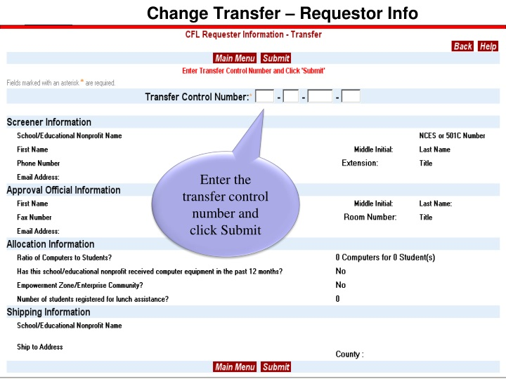 Change Transfer – Requestor Info