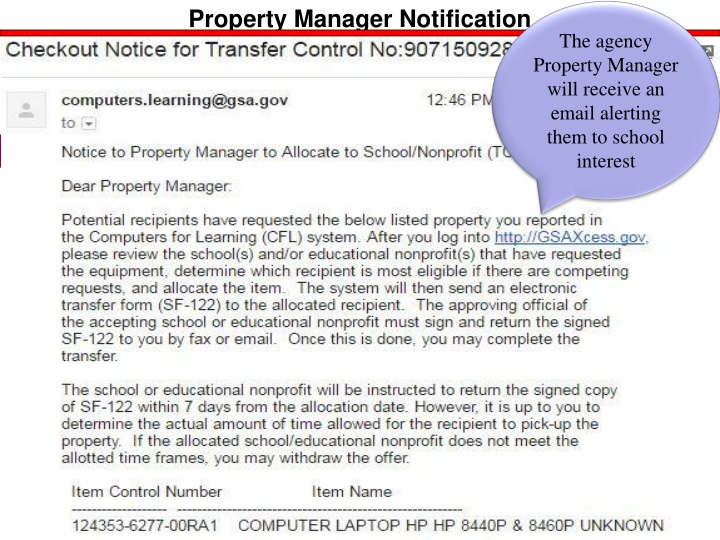 Agency property manager will receive an email alerting them to school interest