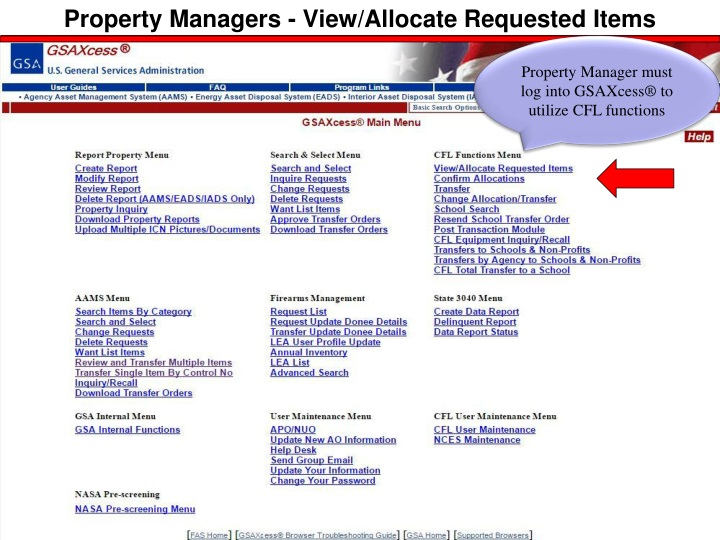 Property Managers - View/Allocate Requested Items