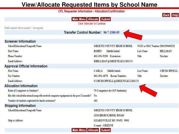 View/Allocate Requested Items by School Name