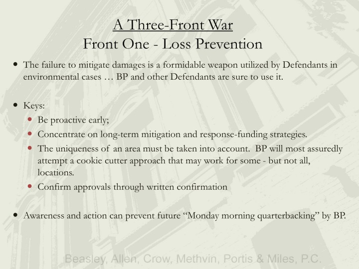 A three front war front one loss prevention