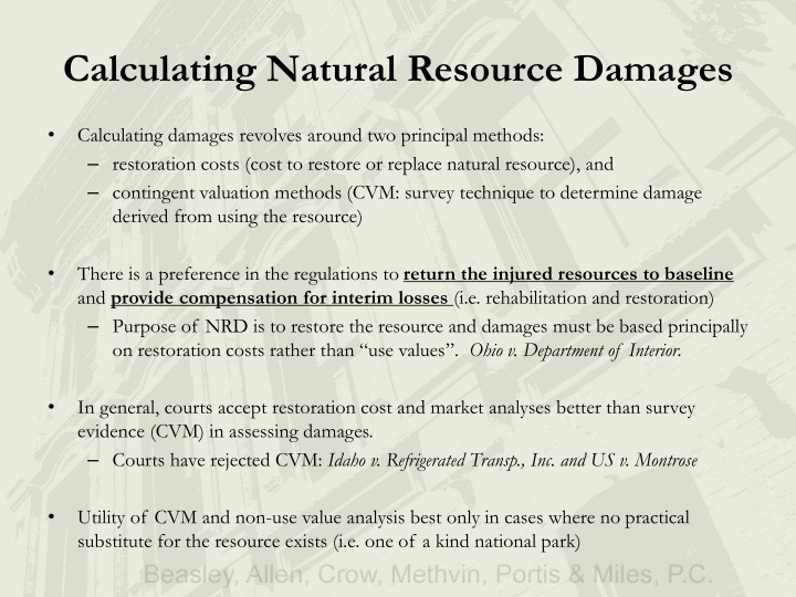 Calculating Natural Resource Damages