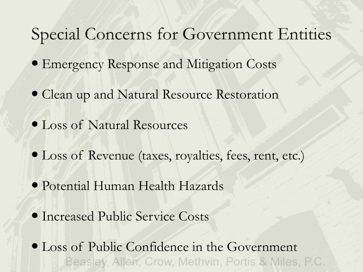 Special concerns for gov ernment entities