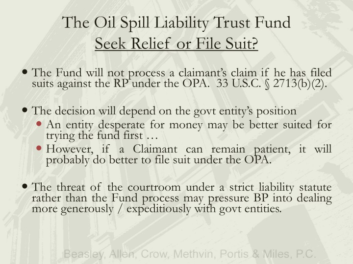 The Oil Spill Liability Trust Fund