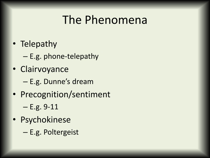 The phenomena