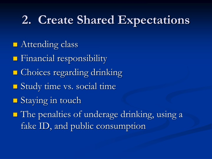 2.  Create Shared Expectations