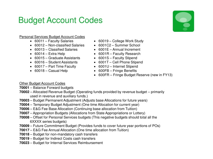Budget Account Codes