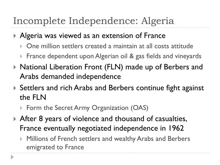 Incomplete Independence: Algeria