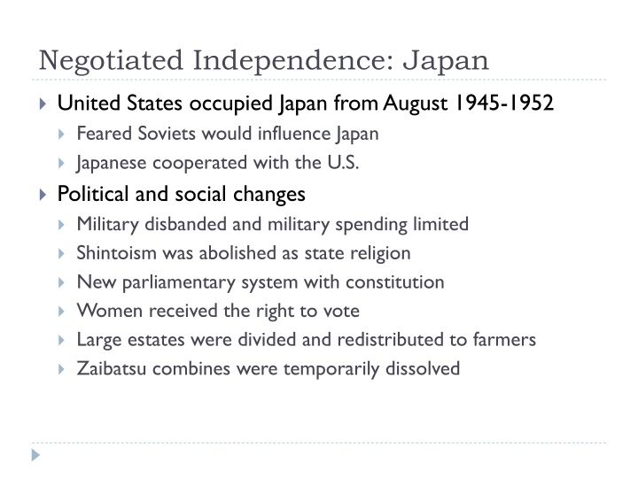 Negotiated Independence: Japan