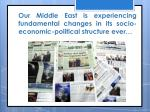 our middle east is experiencing fundamental changes in its socio economic political structure ever