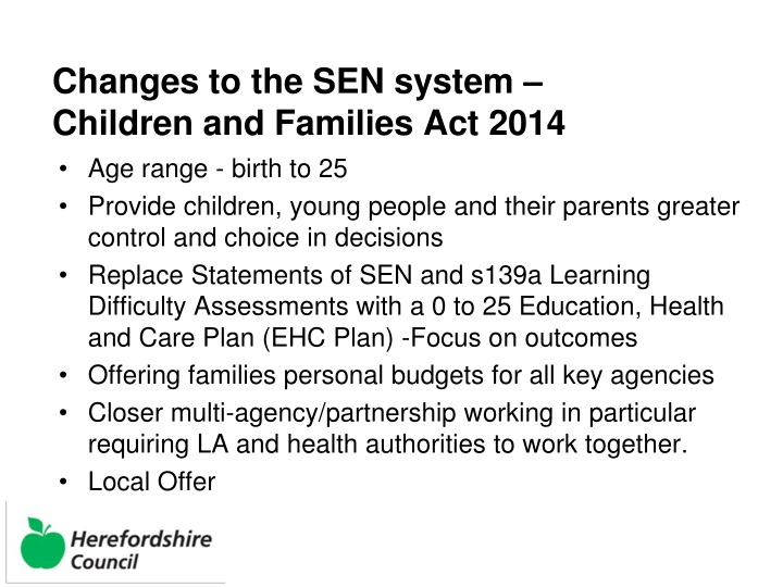Changes to the SEN system –