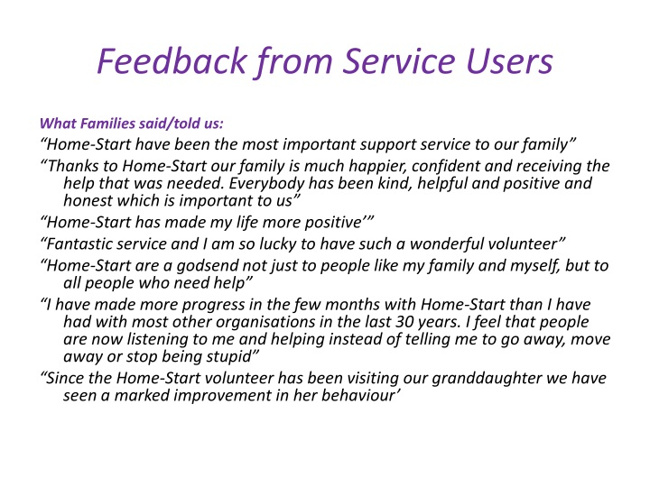 Feedback from Service Users