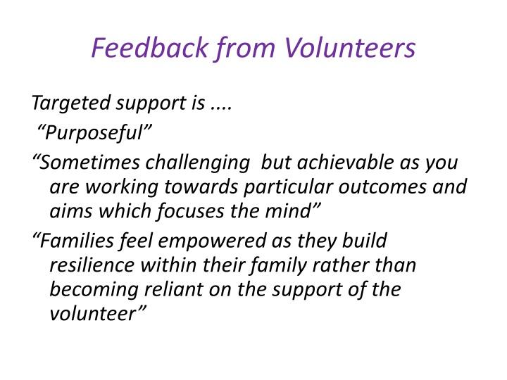 Feedback from Volunteers