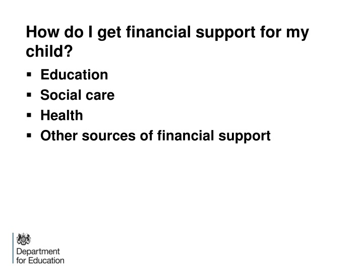 How do I get financial support for my child?