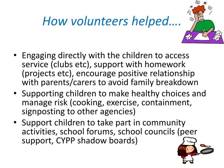How volunteers helped….