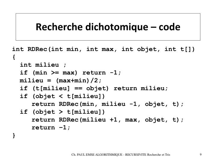 Recherche dichotomique – code