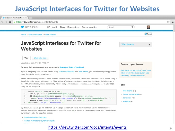 JavaScript Interfaces for Twitter for Websites