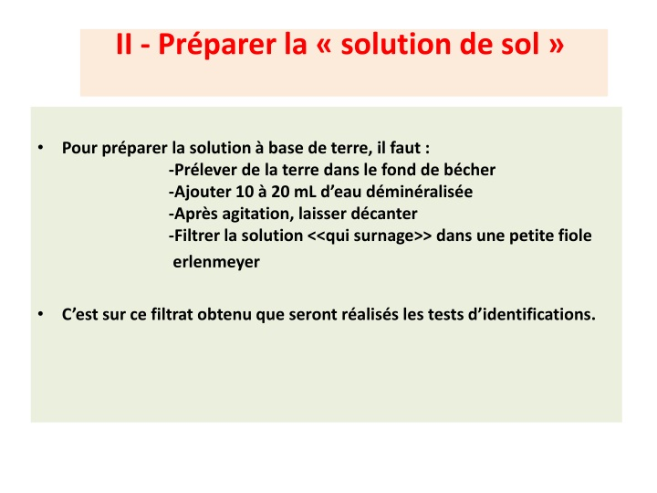 Ii pr parer la solution de sol