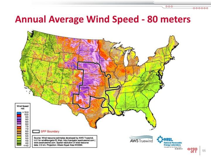 Annual Average Wind Speed - 80 meters