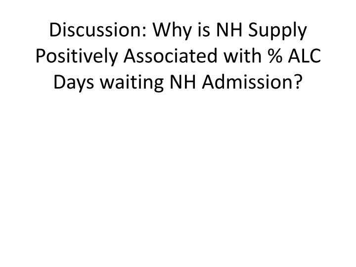 Discussion: Why is NH Supply Positively Associated with % ALC Days waiting NH Admission?
