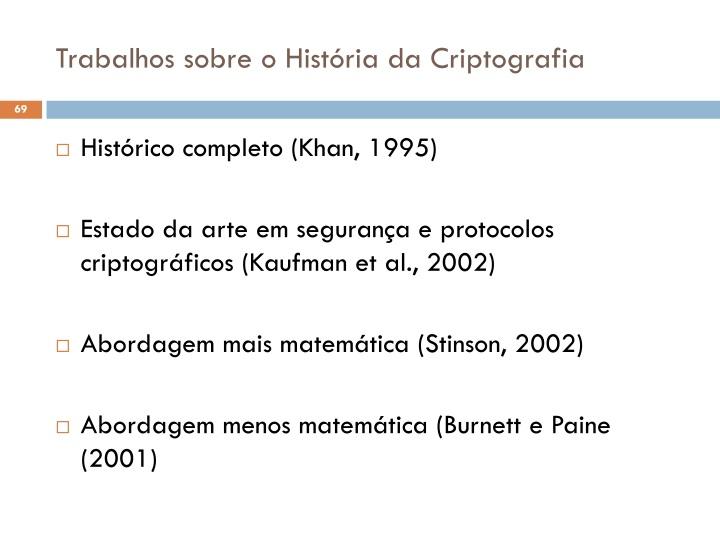 Trabalhos sobre o História da Criptografia